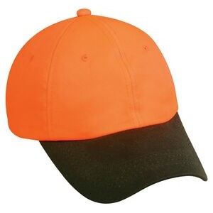 Blaze Orange Unstructured Cap with Waxed Cotton Canvas Visor